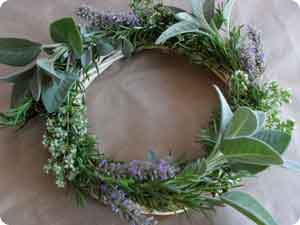 Finished homemade herb wreath gift...