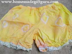 Tie dye bloomers using a simple version of this marble tie dye technique...