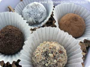 Easy chocolate truffles coated in a variety of toppings...