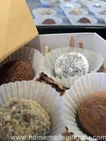 "A 4"" x 4"" Masu origami gift box with 4 homemade truffles..."