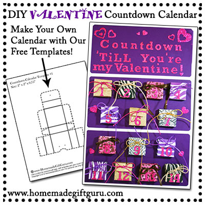 Learn how to make your own Valentine Countdown Calendar for your favorite little Valentine! Free printable templates by www.homemadegiftguru.com