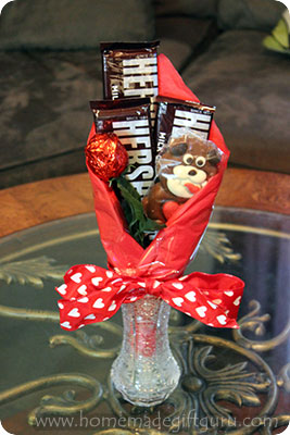Candy makes this Valentine's Day bouquet extra sweet for your sweetie.