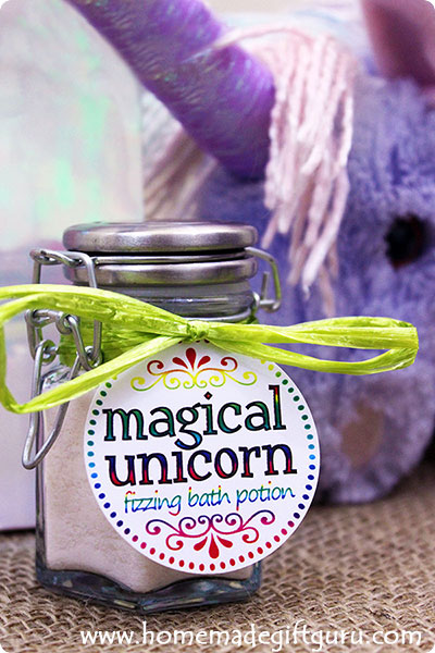 To honor the Unicorn within, make this magical unicorn fizzy bath salt potion and give the gift of purple bath bliss.