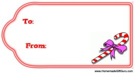 Easy to print gift tags: Candy Cane Design