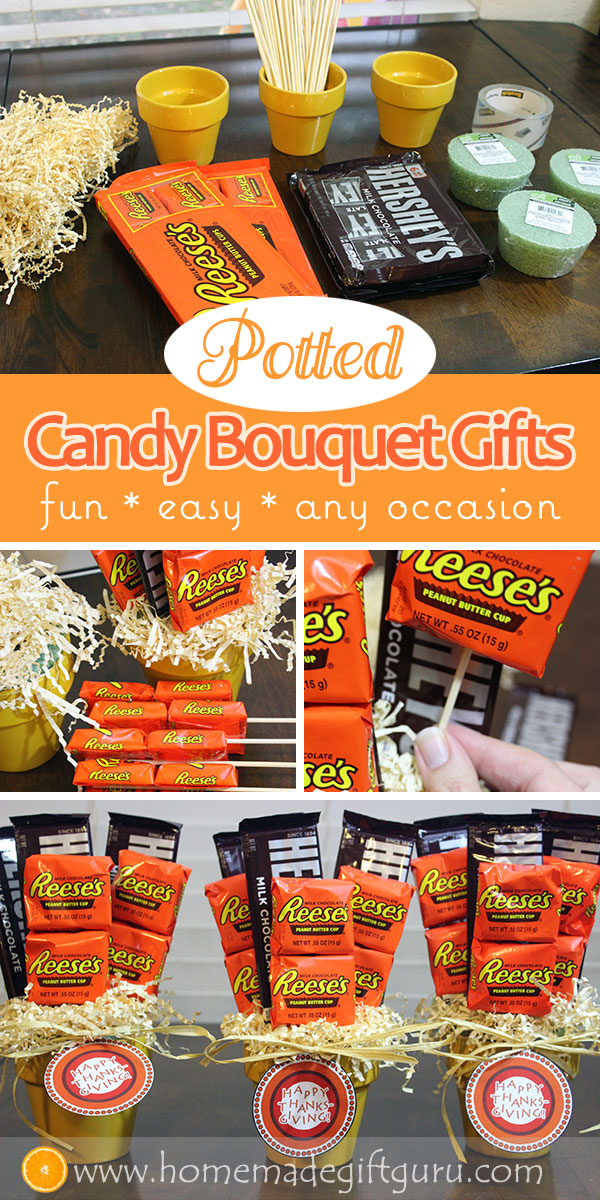 Cute, easy and versatile... these potted candy bouquet arrangements make SWEET gifts! #easyhomemadegifts #teachergifts #thanksgivingprintables #diy #smallcandybouquets #candybouquetinstructions