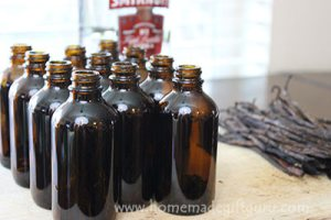 Homemade vanilla makes lovely gifts! This tutorial will show you how to make vanilla gifts right in the bottles for vanilla that gets sweeter with age. ...Free printable labels included.