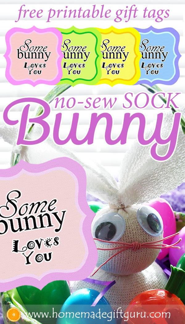 Make a no-sew sock bunny for some-BUNNY special to you and put it inside your next homemade Easter basket! So cute :) #EasterGiftIdeas #Eastercrafts #easysockbunny #sockbunnytutorial #nosewsockbunny