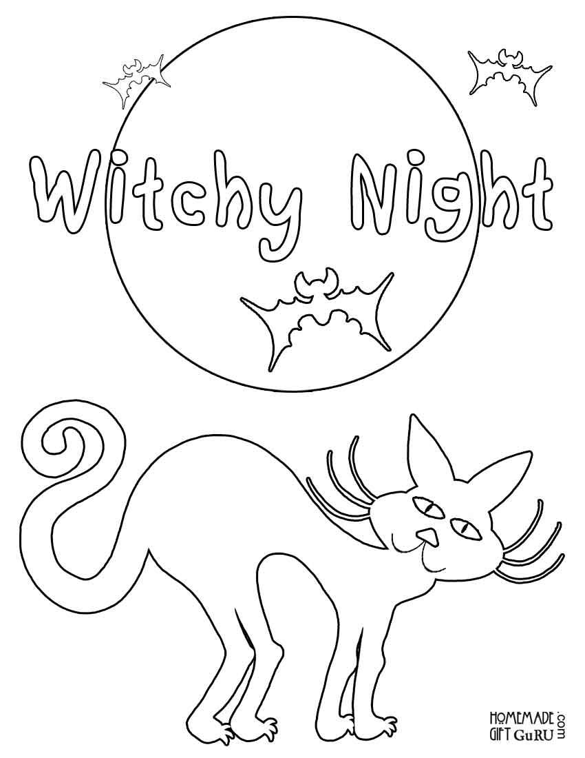 Right-click on Midnight Kitty Halloween coloring picture and choose Print Picture...