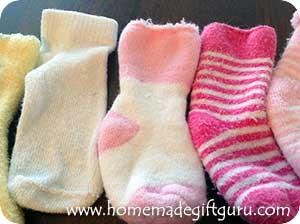 Baby sock for making DIY sock bunny rabbits.