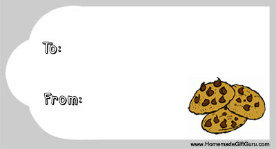 Free gift tag with baked cookies design, good for food gifts!
