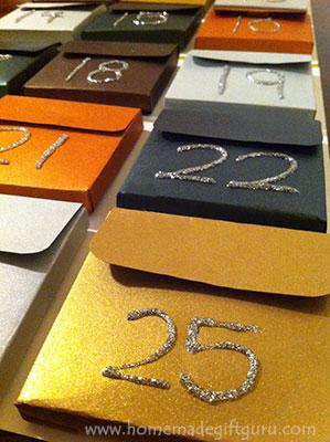 Christmas Advent Calendar made using shimmer paper