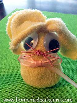 Make sock bunnies using baby socks for cute little sock rabbits that fit inside large plastic Easter eggs.