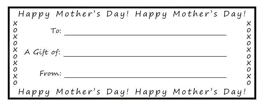 Free Printable Gift Certificates For Mother S Day - Gift Ideas