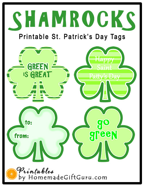These shamrock tags go great with green St. Patrick's Day treats. Anything from green cookies to green drinks to green candy.