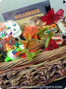 Basket with Halloween story book and other fun items
