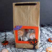 Make a unique Halloween party bag with a custom window and a creepy surprise...