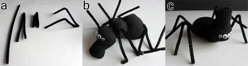 Here is how to add eight legs to your Halloween sock spider. Using pipe cleaners/chenille stems for the legs allow them to be molded into place as needed.