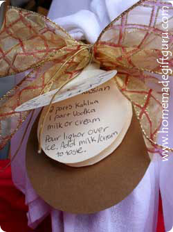 Making a Kahlua recipe book for your gift recipient is a very nice touch! Included are a few recipes for using Kahlua that you can include for your own recipe book or on gift tags.