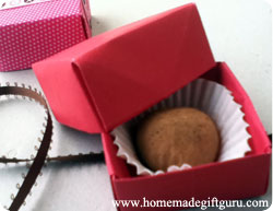 Homemade truffles inside origami boxes make adorable homemade Valentine Gifts!