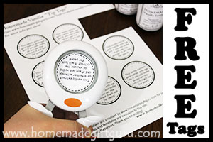 Use a round craft punch with these free printable tip tags for easy DIY vanilla gifts