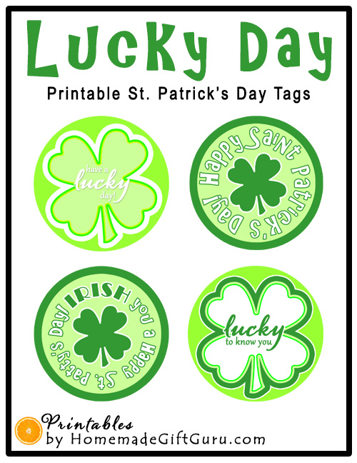 These 2 inch sized round four leaf clover themed craft and gift tags are perfect for Saint Patrick's Day gift bags or any special treat or gift you might want to give to someone special.