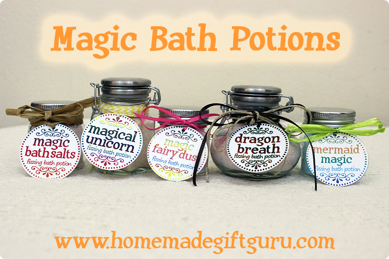 Each magical fizzy bath salt potion features a fantasy creature theme, such as Magical Unicorn, Fairy Dust, Dragon Breath or Mermaid Magic. Free printables.