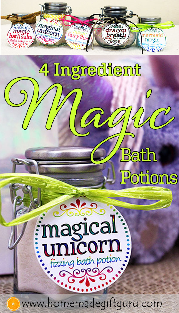 DIY MAGIC bath salts that fizz and change color upon activation, this 4 ingredients bath salt recipe is so EASY! #teengiftideasdiy #stockingstuffers #partyfavors #homemadegiftsforkids #unicorns
