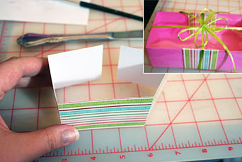 You can re-enforce your handmade gift box and liven up the design by folding decorative paper around the outside and inside of your DIY gift box.