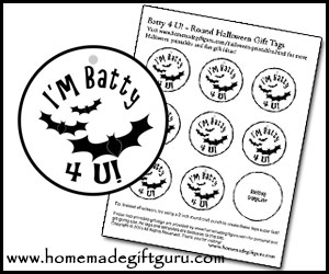 Here's a BATTY idea... Attach these bat-themed gift tags to plastic bat rings or other bat-themed toys and give them out dressed up as a vampire or as bat man.