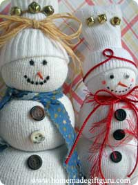 Learn how to make a sock snowman like this!