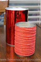 Use up-cycled tin cans for the base of your candy bouquets for an inexpensive homemade gift idea