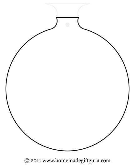 Round Christmas ornament gift tag template.