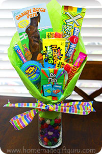 Easter baskets and flower arrangements collide when you make a bright and beautiful Easter candy bouquet.