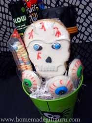 Basket with glow sticks, flashlight and candy