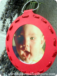 Here is a homemade Christmas ornament I had fun making with one of the Christmas gift tag templates on this page.