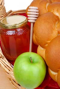 Homemade Gift Basket with Apples, Bread and Honey