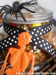 Halloween decorated jar of caramel popcorn