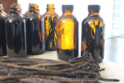 Vanilla beans steeping! Learn how to make your own vanilla extract, right in the bottles.