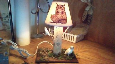 Decoupage Lamp Shade Illuminated.