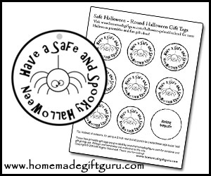 Spider-themed freebie Halloween gift tags can be easily printed, punched out and used to label DIY sock spiders, plastic spider rings, spider-themed toys and spider-themed homemade Halloween treats.