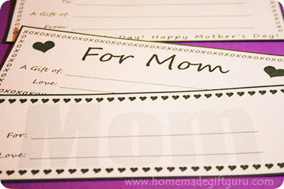 These printable gift certificates make great homemade gift ideas for mom!