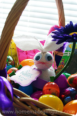 Ideas for giving sock bunnies for homemade gifts... Snuggle your homemade bunny inside an Easter basket and surround it with Easter eggs and treats.